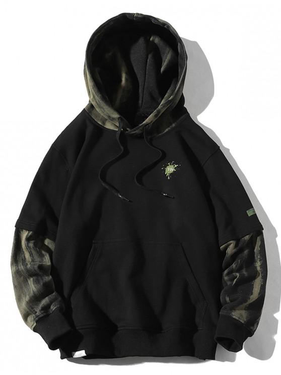 online Painting Print Faux Twinset Drawstring Hoodie - BLACK 4XL
