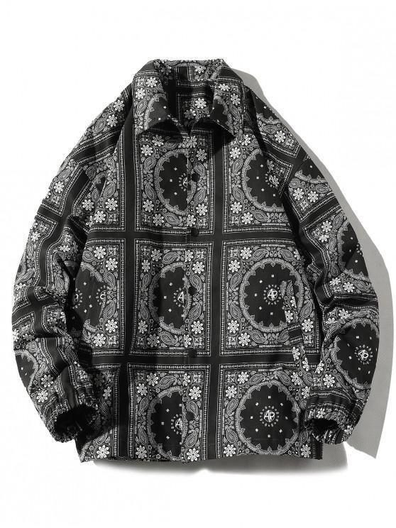 women Floral Bandana Allover Print Snap Button Jacket - BLACK 4XL