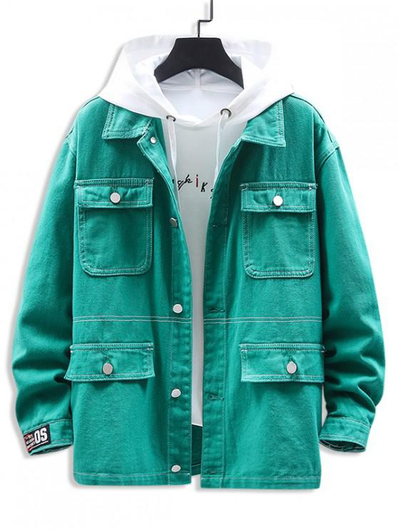 online Letter Printed Pocket Decorated Casual Jacket - MACAW BLUE GREEN 3XL