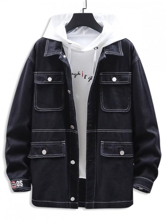 shop Letter Printed Pocket Decorated Casual Jacket - BLACK 3XL