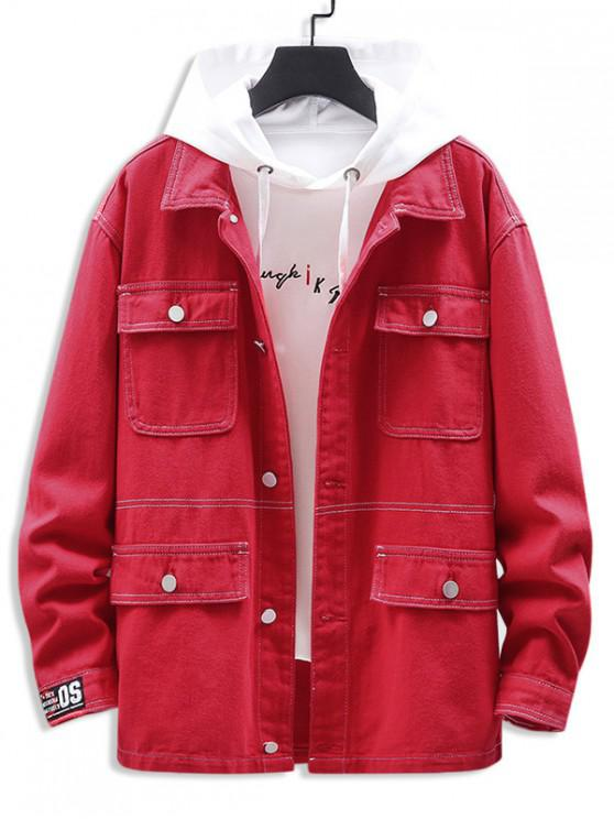 chic Letter Printed Pocket Decorated Casual Jacket - RED 3XL