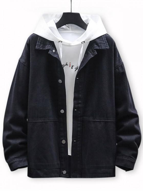 buy Letter Printed Button Casual Jacket - BLACK 3XL