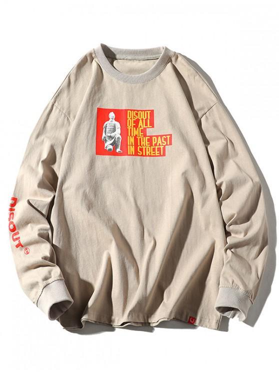 outfits Contrast Graphic Letter Print Crew Neck T-shirt - LIGHT KHAKI XL