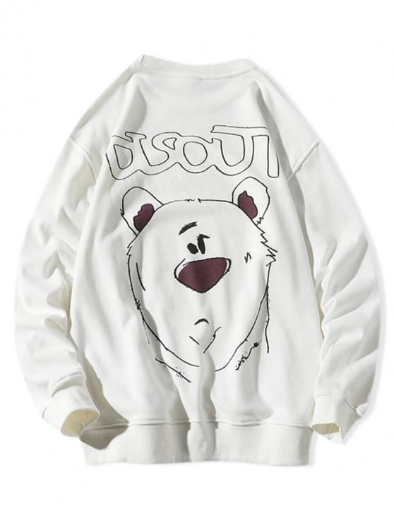 ladies Animal Figure Letter Print Crew Neck Sweatshirt - WHITE 2XL