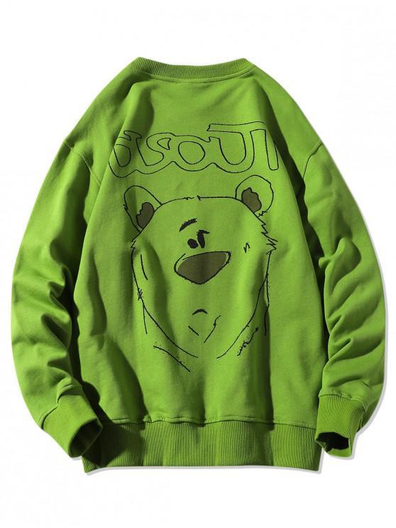 online Animal Figure Letter Print Crew Neck Sweatshirt - CLOVER GREEN M