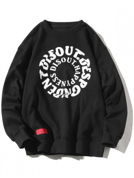 fancy Letter Graphic Print Crew Neck Applique Sweatshirt - BLACK 4XL