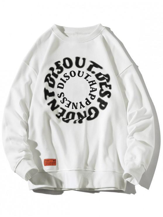 buy Letter Graphic Print Crew Neck Applique Sweatshirt - WHITE 2XL