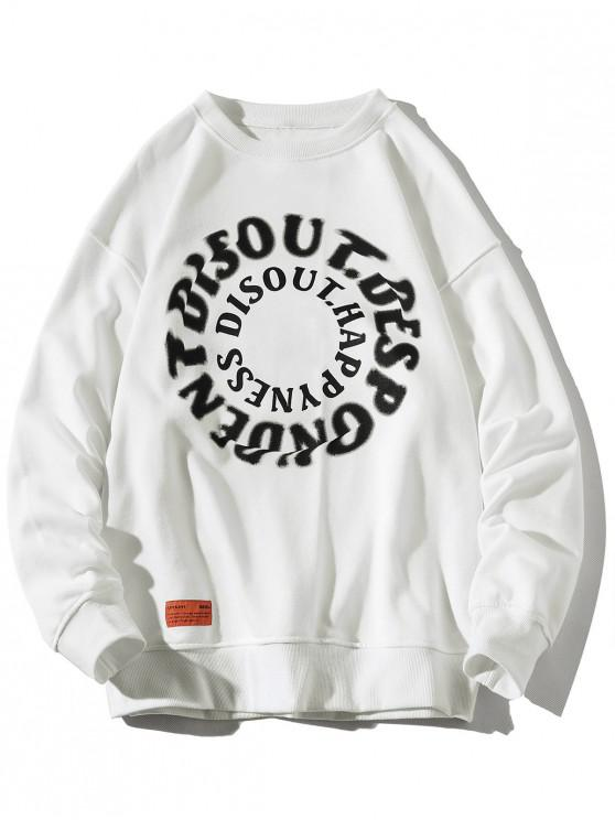 women Letter Graphic Print Crew Neck Applique Sweatshirt - WHITE 4XL