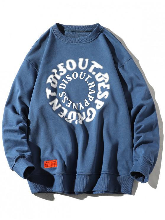 Sudadera con Estampada de Letras y Cuello Redondo - Azul de Seda 4XL
