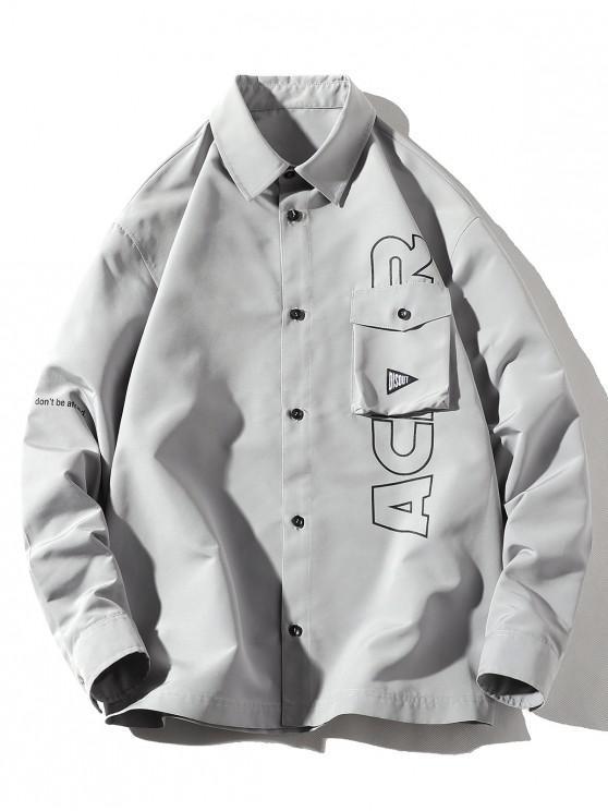 unique Letter Print Flap Pocket Long Sleeve Button Shirt - PLATINUM 3XL