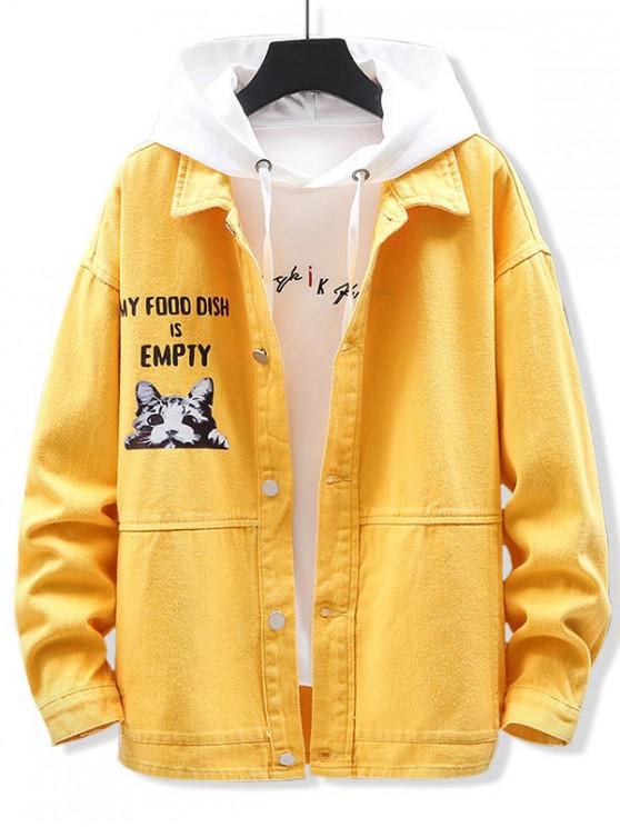 buy Graphic Cat Print Casual Jacket - YELLOW M
