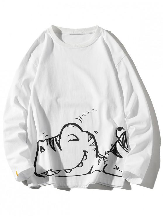 women Long Sleeve Animal Print Crew Neck T-shirt - WHITE 3XL