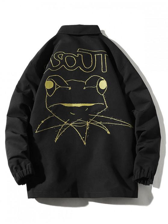 outfits Cartoon Frog Drawing Graphic Jacket - BLACK 4XL