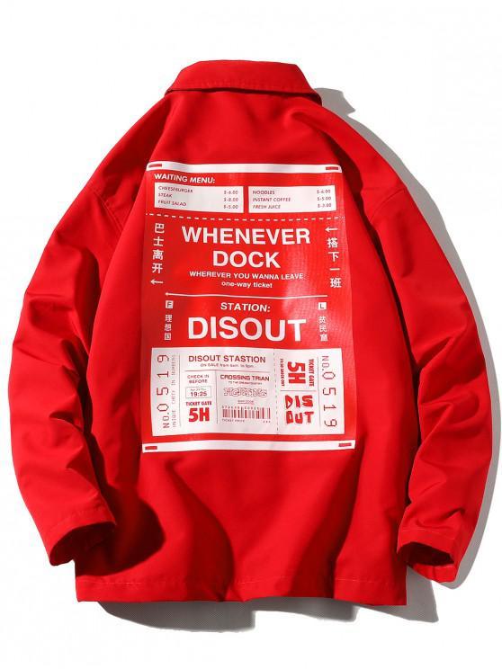 unique Ticket Letter Graphic Print Snap Button Jacket - LAVA RED 4XL