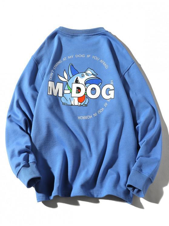 women's Cartoon Dog Letter Print Crew Neck Sweatshirt - SILK BLUE L