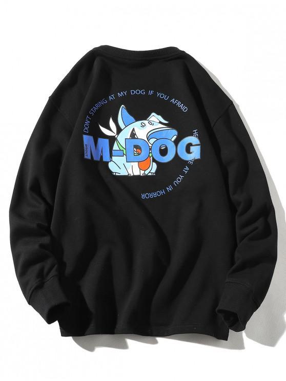 sale Cartoon Dog Letter Print Crew Neck Sweatshirt - BLACK 2XL