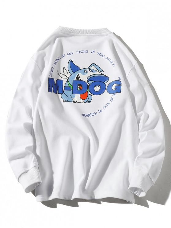 fancy Cartoon Dog Letter Print Crew Neck Sweatshirt - WHITE 3XL