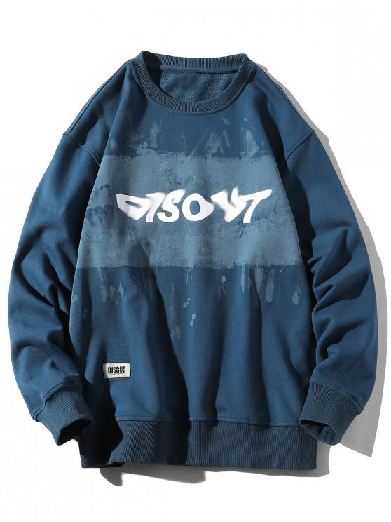 affordable Letter Tie Dye Print Applique Crew Neck Sweatshirt - SILK BLUE XL