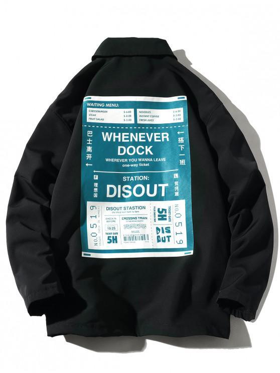 ladies Ticket Letter Graphic Print Snap Button Jacket - BLACK 2XL