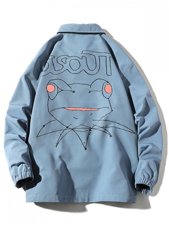 online Cartoon Frog Drawing Graphic Jacket - SILK BLUE 3XL