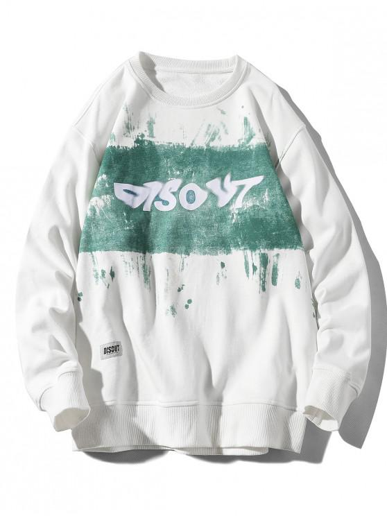 best Letter Tie Dye Print Applique Crew Neck Sweatshirt - WHITE M