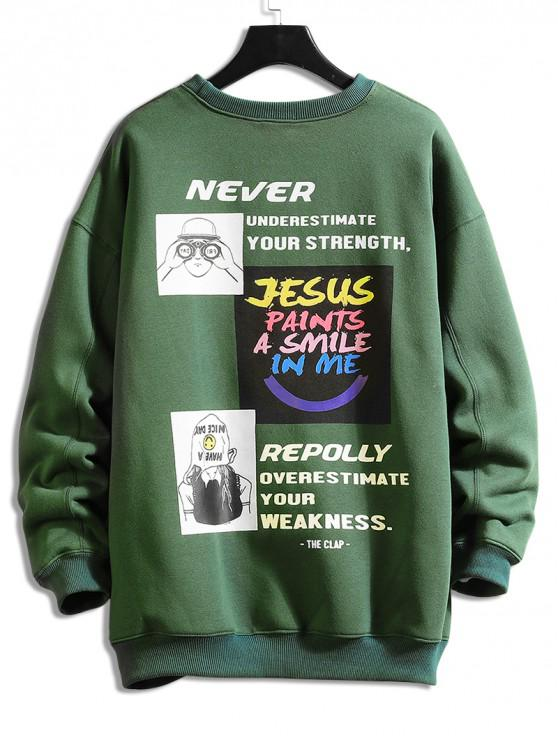 fancy Letter Character Graphic Print Pullover Sweatshirt - SEA GREEN 2XL