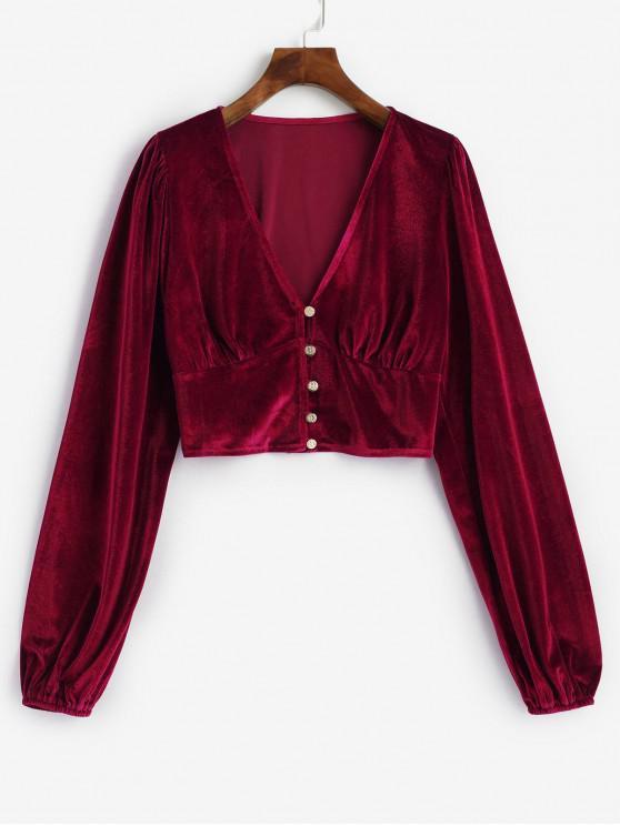best Velvet Loop Button Plunge Crop Top - RED M