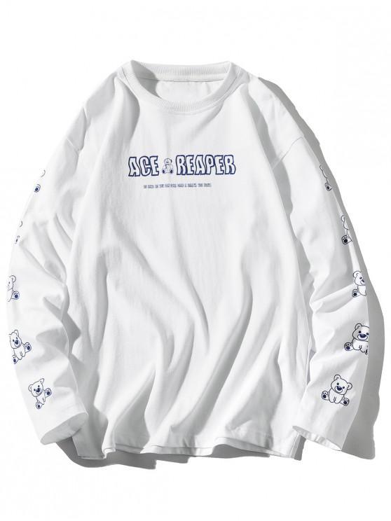 best Long Sleeve Bear Animal Letter Print T-shirt - WHITE 3XL
