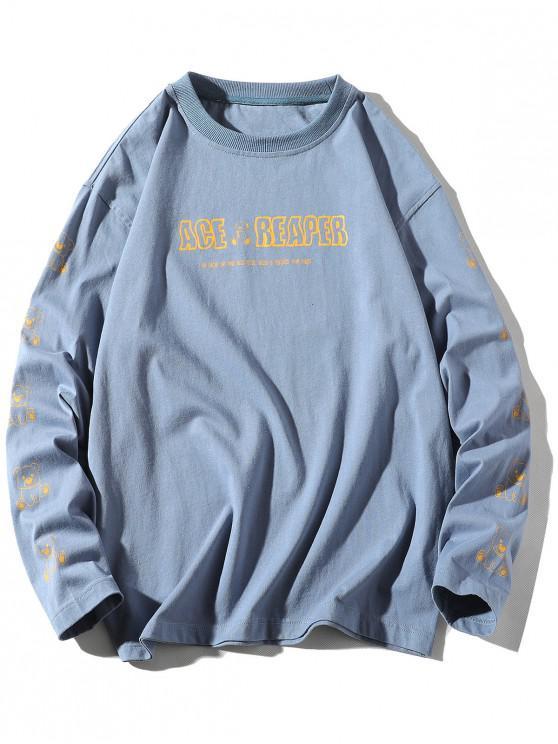 Manica lunga orso animale della lettera maglietta della stampa - Blu  Seta L