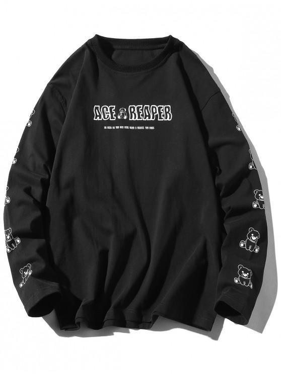 online Long Sleeve Bear Animal Letter Print T-shirt - BLACK XL
