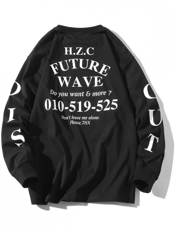 unique Future Wave Letter Graphic Print Crew Neck Sweatshirt - BLACK 3XL
