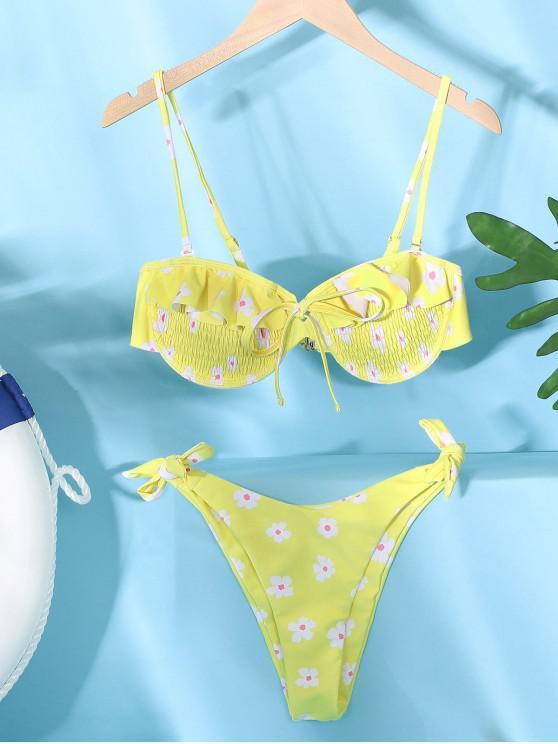 shops ZAFUL Floral Smocked Knotted Bikini Set - YELLOW M
