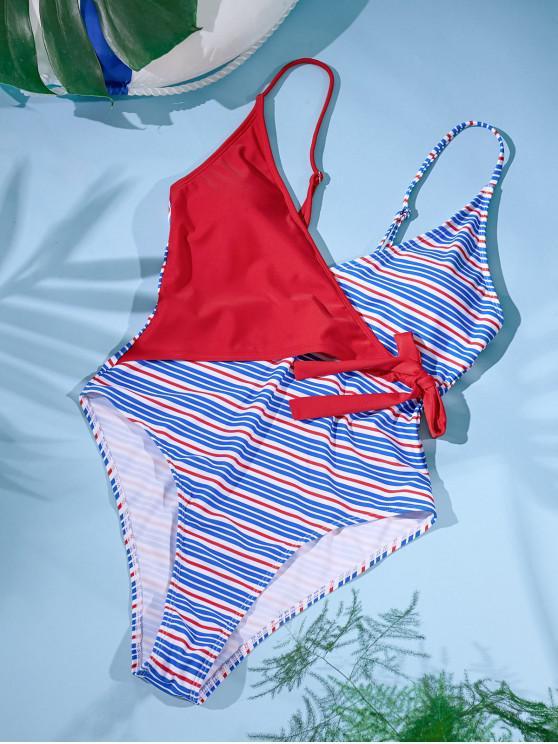 ZAFUL sobreposição laço listras laterais de uma peça Swimsuit - Vermelho S