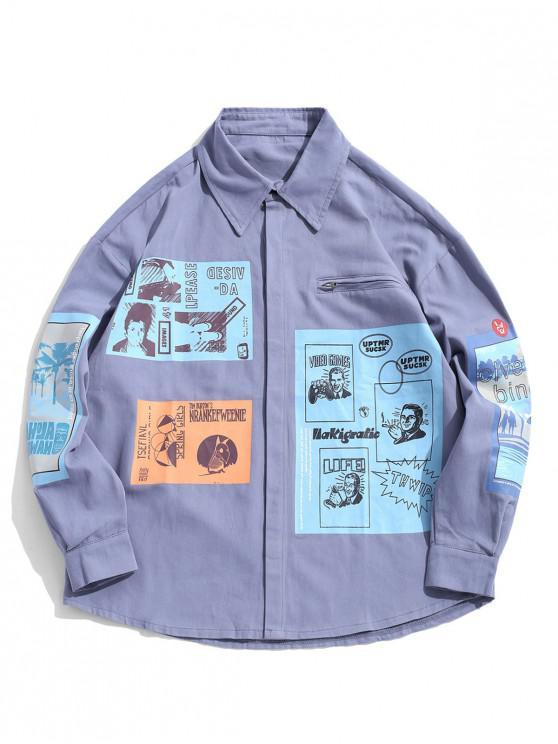 Pulsante grafica cartoon giacca spalla Up Goccia - Blu 4XL