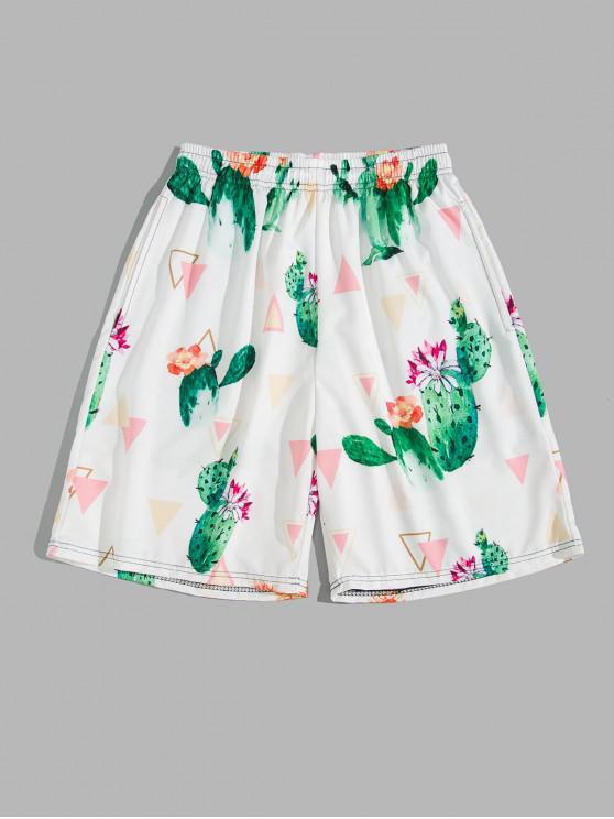 fashion Cactus Flower Geometric Print Board Shorts - WHITE 3XL