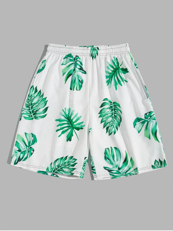 fancy Tropical Leaf Vacation Board Shorts - LIGHT SEA GREEN 4XL