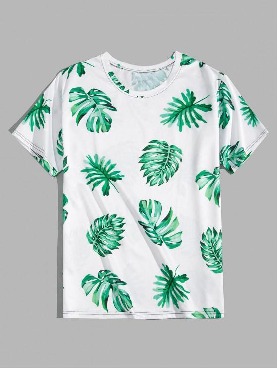chic Tropical Leaf Print Vacation T-shirt - LIGHT SEA GREEN XL
