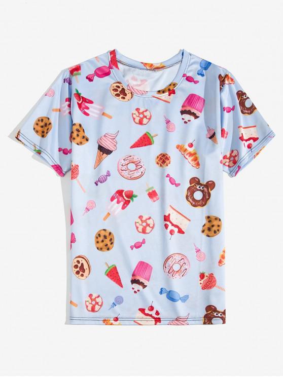 Manica corta Dessert Allover Print T-shirt - Blu Porpora Chiaro L