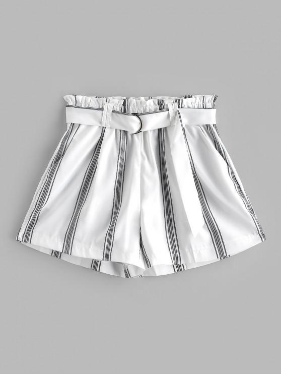 fashion Striped Belted Pocket Paperbag Shorts - WHITE L