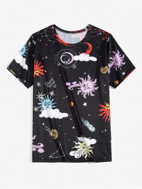 Cartoon Sole e la Luna grafica manica corta T-shirt - Nero L