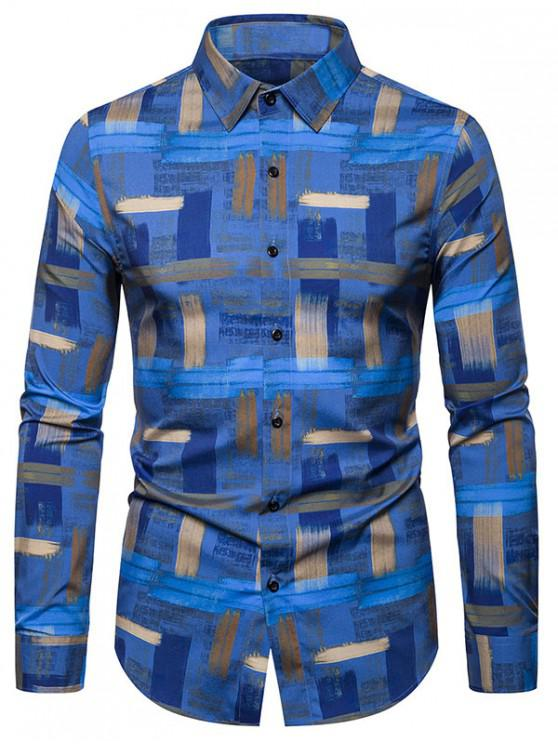 lady Leisure Printed Button Long-sleeved Shirt - BLUE 2XL