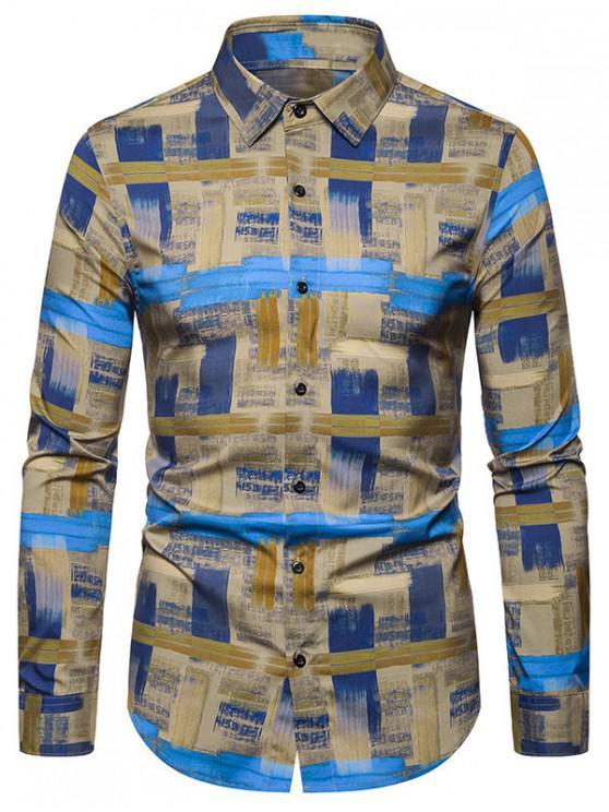 fancy Leisure Printed Button Long-sleeved Shirt - KHAKI 2XL