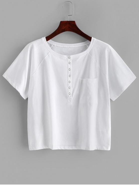 Camiseta de Manga Comprida de Botão de Pressão Sólido - Branco M