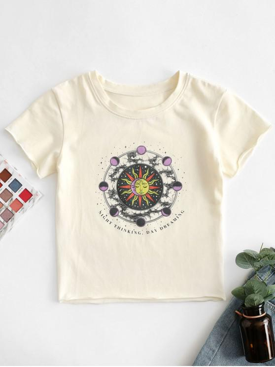 fashion Sun and Moon Letter Print Crop Tee - APRICOT S