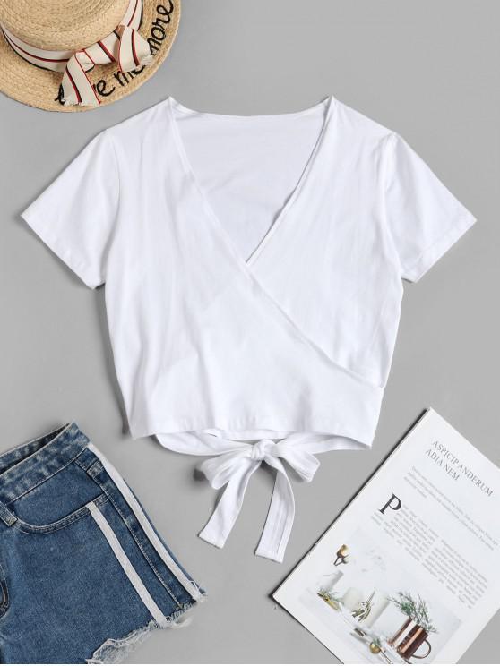 fashion V Neck Crop Wrap Tee - WHITE S