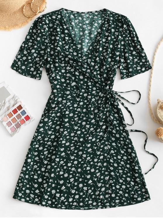 fancy V Neck Tiny Floral Wrap Dress - GREEN L