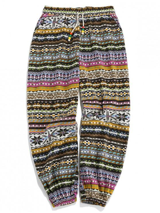trendy ZAFUL Tribal Print Elastic Waist Casual Pants - MULTI S
