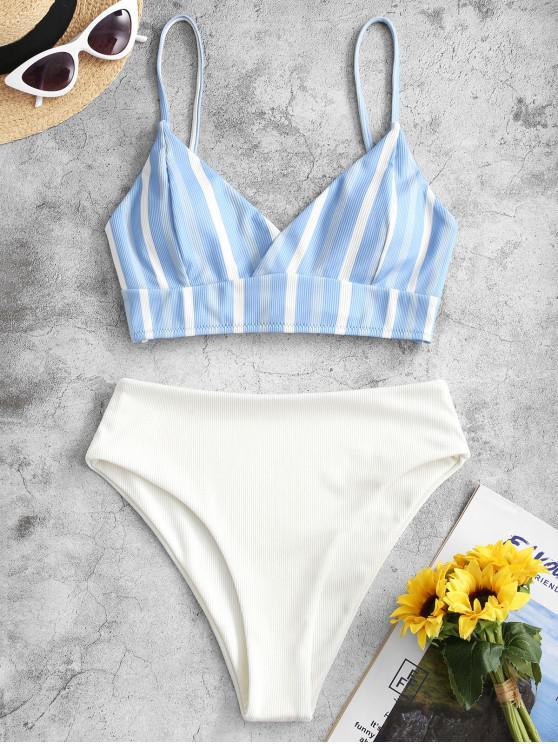 ZAFUL Maillot de Bain Bikini Côtelé Rayé à Taille Haute à Lacets - Bleu Bleuet S