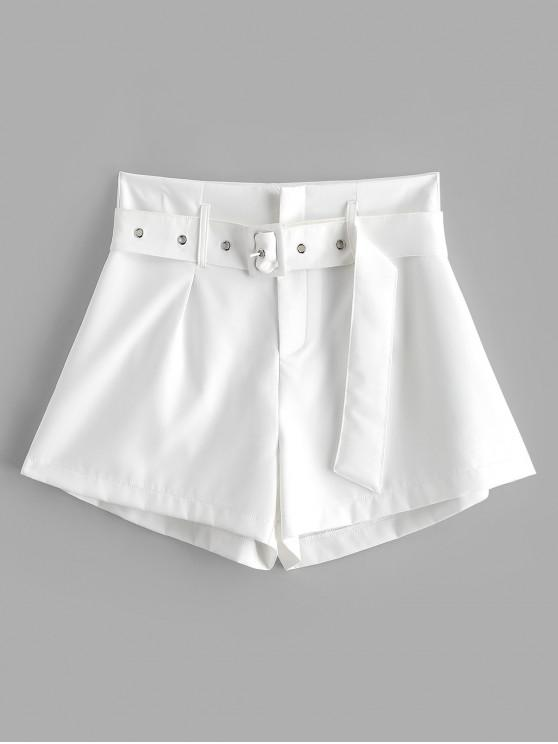 sale ZAFUL Belted Zip Fly High Waisted Shorts - WHITE S