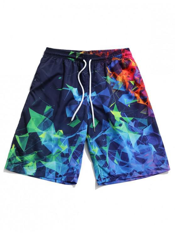 Colorful Geometric Print Board Shorts - متعدد XL